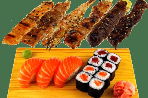 5 Brochettes, 8 Maki et 3 Sushi