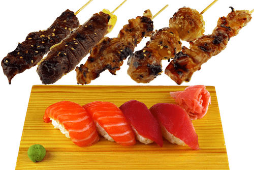 5 Brochettes et 4 Sushi